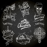 Grupo da tatuagem do Natal Fotografia de Stock Royalty Free