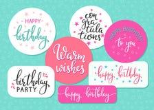 Grupo da tipografia das citações do sinal da rotulação do feliz aniversario Fotos de Stock Royalty Free