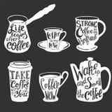 Grupo da tipografia das citações e dos provérbios do café do vetor ilustração royalty free