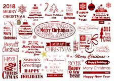 Grupo da tipografia do Feliz Natal fotografia de stock royalty free