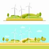 Grupo da turbina eólica ilustração stock