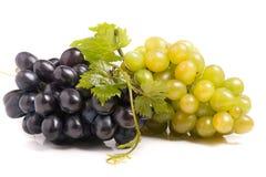 Grupo da uva verde e azul com as folhas isoladas no fundo branco imagem de stock