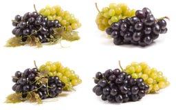Grupo da uva verde e azul isolada no fundo branco Grupo ou coleção fotos de stock royalty free