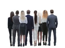 Grupo da vista de executivos traseiro Vista traseira Isolado sobre o fundo branco foto de stock
