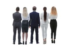 Grupo da vista de executivos traseiro Vista traseira Isolado sobre o fundo branco Fotografia de Stock Royalty Free