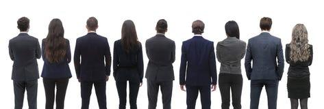 Grupo da vista de executivos traseiro Vista traseira Isolado sobre o fundo branco fotos de stock
