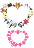 Grupo dado forma coração da beira dos cães e gato Imagens de Stock Royalty Free