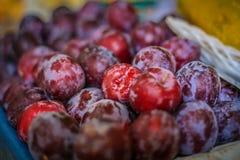 Grupo das ameixas no mercado de um fazendeiro Fotografia de Stock