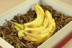 Grupo das bananas na caixa imagem de stock