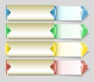 Grupo das bandeiras de papel com as setas para infographic e o webdesign ilustração do vetor