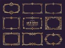 Grupo das beiras do art deco Quadros dourados dos anos 20, estilo geométrico luxuoso do nouveau, ornamento abstrato do vintage Ar ilustração royalty free