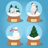 Grupo das bolas de vidro do Natal com neve ilustração stock