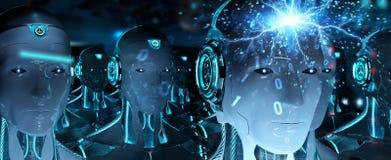 Grupo das cabeças masculinas dos robôs que criam a rendição digital da conexão 3d ilustração do vetor