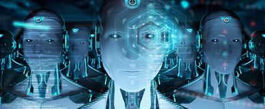 Grupo das cabeças masculinas dos robôs que usam a rendição digital das telas 3d do holograma ilustração royalty free