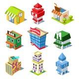 Grupo das construções e das lojas isométricas da cidade Imagem de Stock Royalty Free