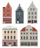 Grupo das construções europeias do norte velhas Grupo das casas dos desenhos animados Imagens de Stock Royalty Free