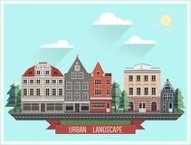 Grupo das construções europeias do norte velhas Grupo das casas dos desenhos animados Foto de Stock