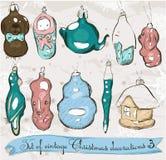 Grupo das decorações reais 2. do Natal do vintage. Ilustração Stock