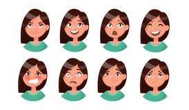 Grupo das emoções da mulher Expressão facial Avatar da menina Vetor Foto de Stock