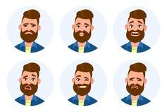 Grupo das emoções faciais masculinas Emoções masculinas diferentes ajustadas Caráter do emoji do homem com expressões diferentes ilustração royalty free