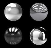 Grupo das esferas do cromo no fundo preto Foto de Stock Royalty Free