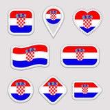 Grupo das etiquetas da bandeira da Croácia Crachás croatas dos símbolos nacionais Ícones geométricos isolados Bandeiras oficiais  ilustração do vetor