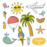 Grupo das férias de verão Elementos do tema das horas de verão ilustração stock