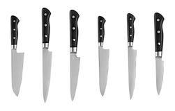 Grupo das facas de cozinha de aço, isolado no fundo branco com trajeto de grampeamento Faca do cozinheiro chefe Fotografia de Stock Royalty Free