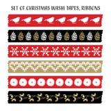 Grupo das fitas do washi do Natal do vintage, fitas com pássaros, cones do pinho, visco Elementos do vetor, testes padrões bonito ilustração do vetor
