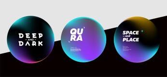 Grupo das formas escuras fluidas com cores brilhantes D futurista na moda Imagem de Stock
