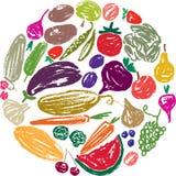 Grupo das frutas e legumes tiradas Foto de Stock Royalty Free
