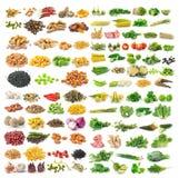 Grupo das grões e das ervas vegetais no fundo branco Imagem de Stock Royalty Free