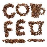 Grupo das letras e de símbolos dos feijões de café Fotos de Stock