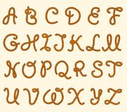 Grupo das letras latin da fonte da corda ilustração do vetor
