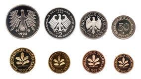 Grupo das moedas do marco alemão de Alemanha, isolado no branco imagens de stock royalty free
