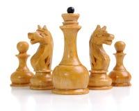 Grupo das peças do jogo de xadrez brancas Fotografia de Stock Royalty Free
