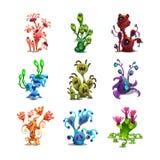 Grupo das plantas estrangeiras da fantasia colorida engraçada isoladas no fundo branco Imagens de Stock Royalty Free