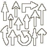 Grupo das setas brancas dos pixéis com um curso preto ilustração royalty free