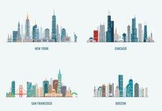 Grupo das skylines das cidades dos EUA ilustração royalty free