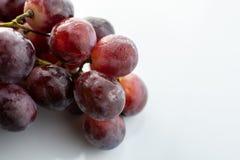 Grupo das uvas molhadas vermelhas isoladas no fundo branco imagem de stock royalty free