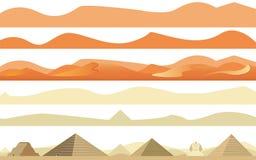 Grupo de árabes e de paisagem do deserto de África