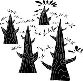 Grupo de árboles negros stock de ilustración