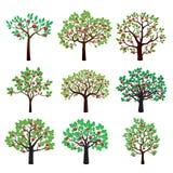 Grupo de árvores de Apple da cor ilustração do vetor