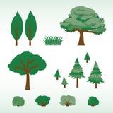 Grupo de árvores, de arbustos e de grama lisos ilustração do vetor