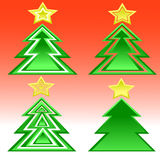 Grupo de árvores de Natal Fotos de Stock Royalty Free