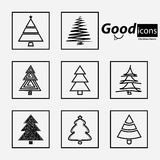 Grupo de árvores de Natal Fotografia de Stock