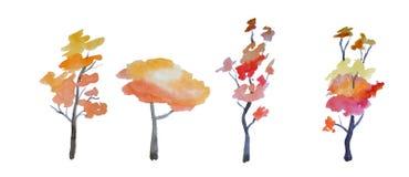 Grupo de árvores diferentes pintadas pela aquarela Imagens de Stock