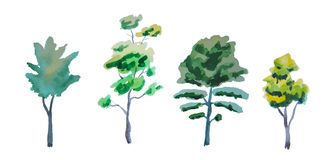 Grupo de árvores diferentes pintadas pela aquarela Fotos de Stock Royalty Free