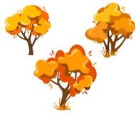 Grupo de árvores do outono da fantasia, de árvores bonitas para a decoração, de bandeiras, de cartazes e de designs web, cartão ilustração royalty free