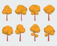 Grupo de árvores do outono dos desenhos animados Fotografia de Stock
